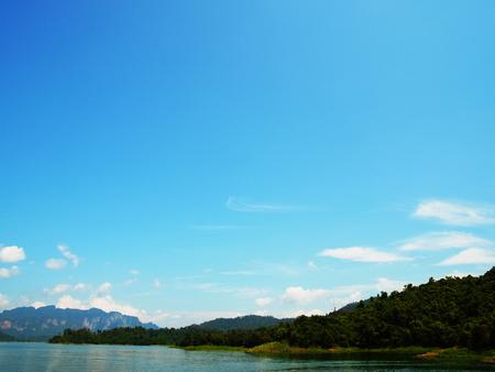 big scenery: The scenery of big rservoir in Ratchaprapha Dam , Surathani , Thailand.