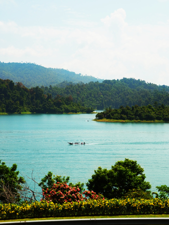 The scenery of big rservoir in Ratchaprapha Dam, Surathani, Thailand.