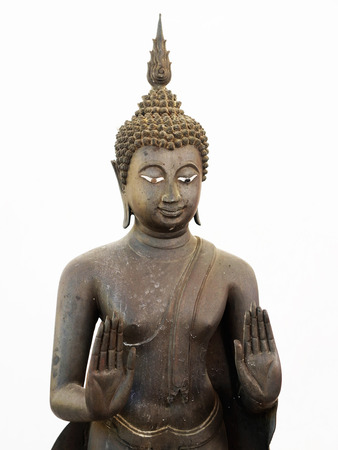 mediate: Statue of the Buddha in the gesture of raising and extending his both arms forward at chest level with the palms turning outwards.
