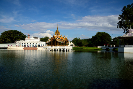 summer palace: Phra Thinang Aisawan Thiphya - Art is a small  Thai style pavilion situated in the middle of a lake in the Bang Pa - in Summer Palace , Ayutthaya Province ,Thailand. Stock Photo