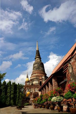 chaimongkol: Main chedi of Wat Yai Chaimongkol with viharn and ornamental plants as foreground.