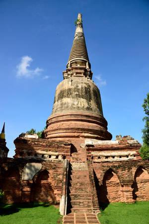 stupa one: One of ruined stupa  in Wat Yai Chai Mongkol , Ayutthaya Province ,Thailand.