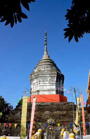 tiers: An ancient pagoda in Chiangkong , Chiangrai Province , Thailand. Stock Photo