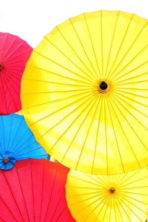 canopies: Folding canopies  designed to protect a person against rain or sunlight. Stock Photo