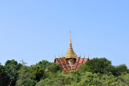 tiers: A golden temple steeple is emcompassed by treetops.