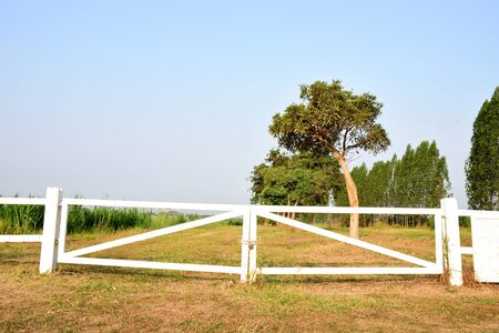 demarcation: A white wooden gate in countryside.