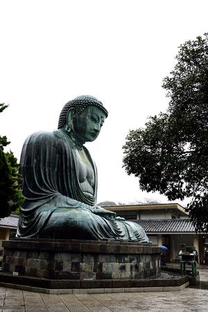 effigy: The Great Buddha of Kamakura amid rain drizzle.