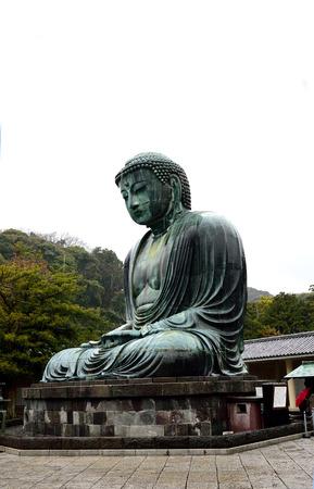 drizzle: The Great Buddha of Kamakura amid rain drizzle.