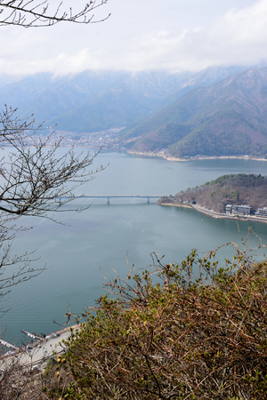 Top view of Kawaguchiko lake from a top of a mountain. Stock Photo