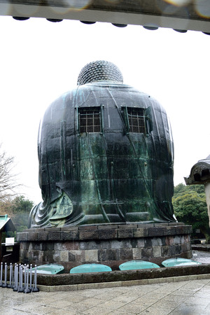 effigy: The rear of The Great Buddha of Kamakura , Japan. Stock Photo