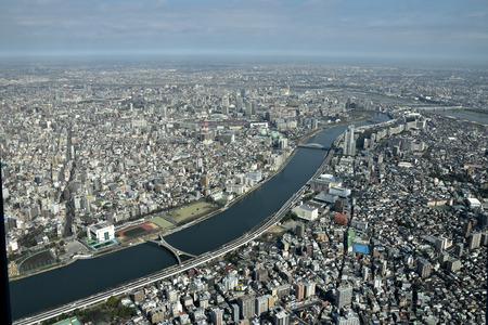 sumida: The Sumida River flows through urban areas of Tokyo , Japan.