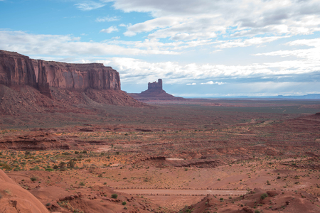 The scenic view of the sandstone buttes  in Monument Valley .