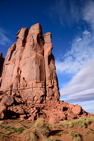 The large stone structures  are highlighted in striking background view of blue sky.