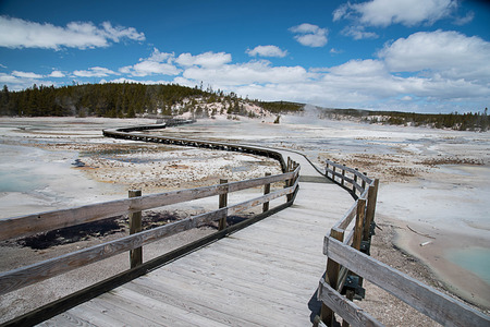 A wooden boardwalk curvely passed through Midway Geyser Area .