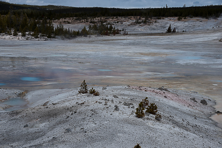 The world of heat and gases with thermophile added various colors to the landscape. Stock Photo