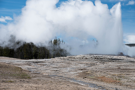 The geyser that spout at regular intervals during a day and the high columns of boiling water which last from fifteen to twenty minutes. Stock Photo