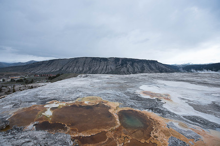 A landscape of geothermal area  of  Old Faithful  in Yellowstone National Park. Stock Photo