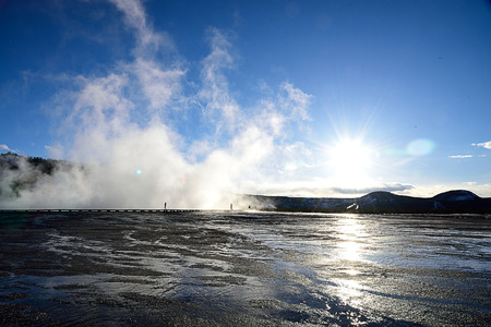The landscape of a geothermal area of Midway Geyser Basin , Yellowstone National Park , Wyoming.