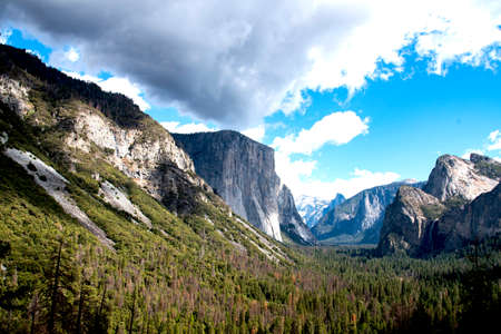 The scenic view from Oak Flat Road shows El Capitan and Half Dome , Sierra Nevada , California. Stock Photo