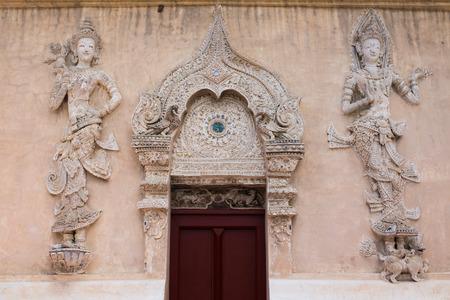 eligion: Thai Lanna style temple door Stock Photo