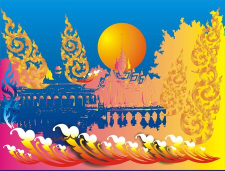 Royal Thai architecture Stock Vector - 13276591