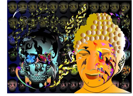 Abstract art buddha Illustration