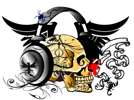 head phone skull Vector