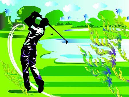 lia: man swing golf lia thai Illustration
