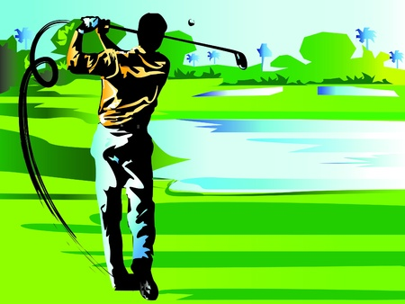 man swing golf Illustration