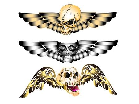 skull art tattoo wings Stock Vector - 16758659