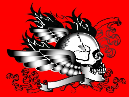 fire skull: skull wings tattoo