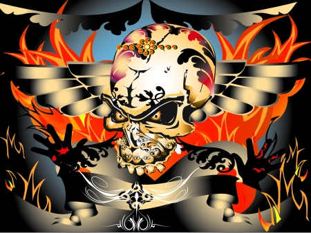dark angel: skull art tattoo Illustration