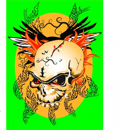 art skull tattoo line thai Vector