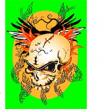skull tattoo: kunst schedel tattoo lijn thai