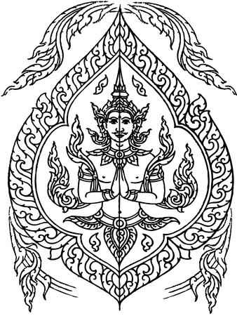 Angel pattern line thai Vector