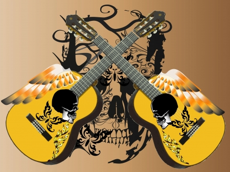 guitar art wings Vector