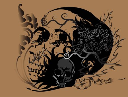 skull art tattoo Vector