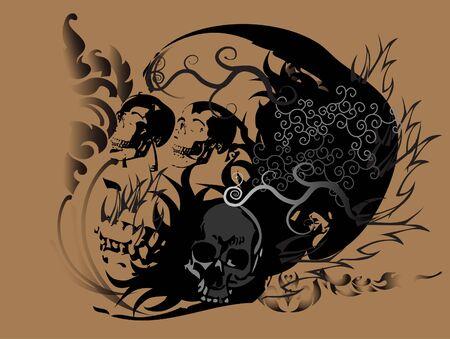skull art tattoo Stock Vector - 17224433