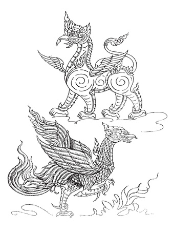 asian angel: animal art thai Illustration