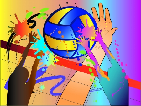 volleyball player: volleyball hit Illustration