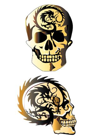 skull and dragon tattoo Vector