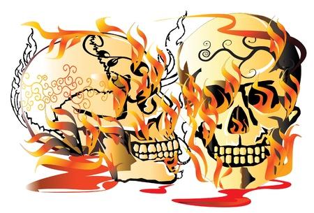 skull tattoo: schedeltatoegering en vuur Stock Illustratie