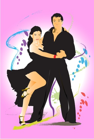 salsa dancing: show dance brush Illustration