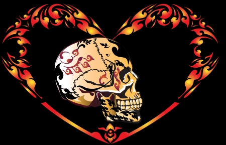 skull and heart Vector