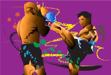 kick boxing: thai kick boxing Illustration