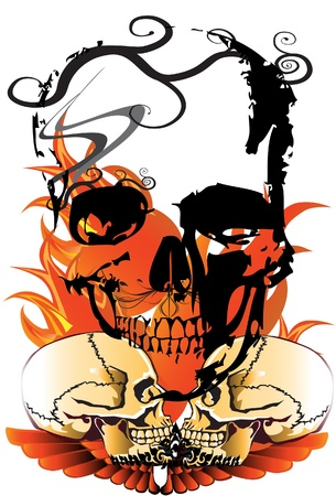 fire skull: skull and design
