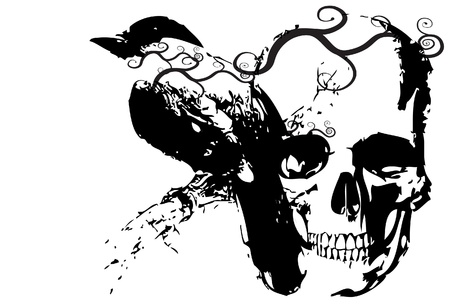 animal skull: skull and bird