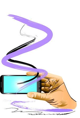 hand art: phone and hand art Illustration