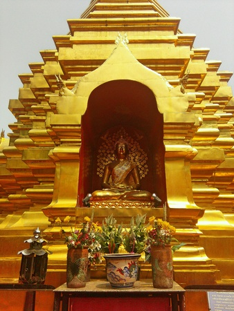 gold: Gold pagoda in Thailand Stock Photo