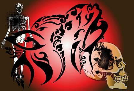style: Skulls art style Thai art